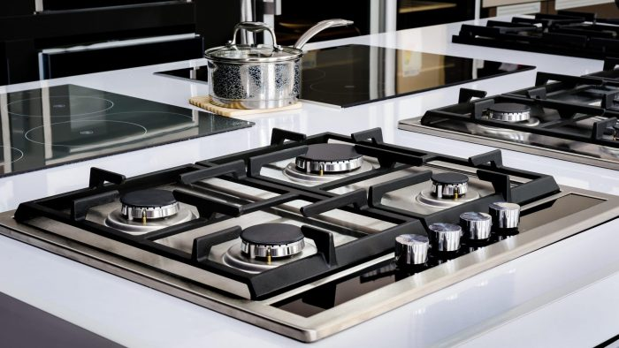 kitchen gas range and induction burners